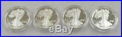 1986 Proof American Silver Eagles Lot of 4 in Original Mint Boxes with COA's