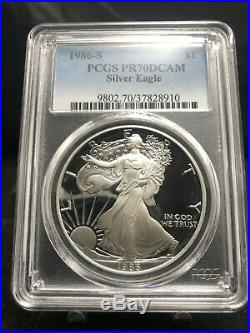1986-S $1 Proof American Silver Eagle PCGS PR70 Nice Coin (1964)