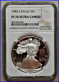 1986-S Proof American Silver Eagle $1 NGC PF70 Ultra Cameo