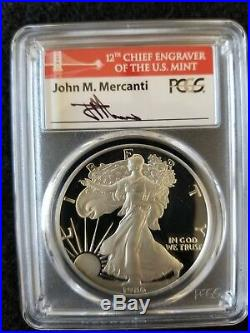 1986-S Proof American Silver Eagle PCGS PR70DCAM FYOI MERCANTI SIGNED