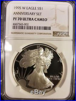 1995 W NGC PF70 10th Anniversary Proof Silver Eagle
