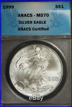1999 $1 American Silver Eagle Proof & Uncirculated Coins ANACS MS 70 & PR 70