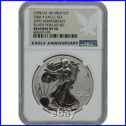 2006-P 20th Anniversary American Eagle Reverse Proof Silver Coin NGC PF70