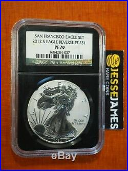 2012 S Reverse Proof Silver Eagle Ngc Pf70 From San Francisco Set Black Retro