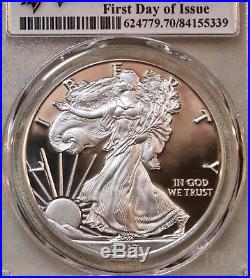 2017-s Pcgs Pr70uc First Day Of Issue Proof Silver Eagle Congratulations Set