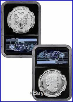 2019 1 oz Silver Eagle & Maple Pride Two Nations NGC PF70 FR Black Excl SKU59047