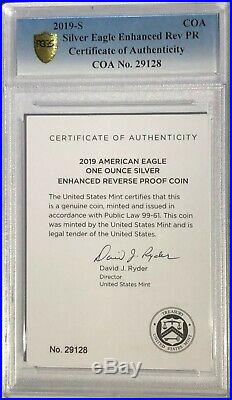 2019 S $1 Enhanced Reverse Proof Pcgs Pr69 First Strike Silver Eagle Coin 29,128