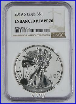 2019 S American 1 Oz 999 Silver Eagle Enhanced Reverse Proof Coin NGC PF70 GEM