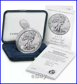 2019-S American Eagle One Ounce Silver Enhanced Reverse Proof Coin In Hand