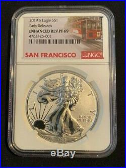 2019 S American Eagle One Ounce Silver Enhanced Reverse Proof Coin Ngc Fs 69
