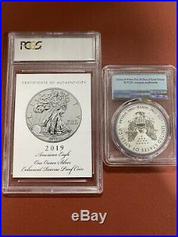 2019-S Enhanced Reverse Proof American Silver Eagle First Strike PCGS PR70 WithCOA