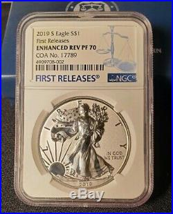 2019-S Enhanced Reverse Proof Silver Eagle/COA First Releases NGC PF70 ER -OGP