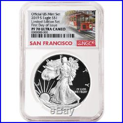 2019-S Limited Edition Proof Set $1 American Silver Eagle NGC PF70UC FDI Trolley