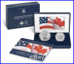 2019 W Enhanced Reverse Proof Silver Eagle Maple Leaf Pride Of Two Nations Set#3