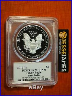 2019 W Proof Silver Eagle Pcgs Pr70 Dcam Flag Mercanti First Strike Label