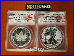2019 W Reverse Proof Silver Eagle Maple Leaf Anacs Pr70 Pride Of Two Nations Set