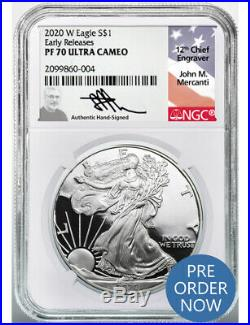 2020 W $1 Silver Eagle Early Releases NGC PF70 Ultra Cameo Mercanti Signed