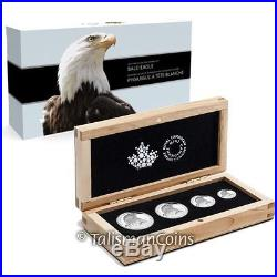 Canada 2015 American Bald Eagle 4 Coin Fractional Silver Proof Set in Wood Box